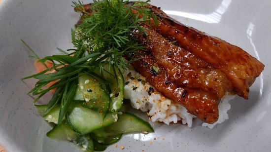 Gorge: Unagi Don: Local Eel, Japanese 7 Spice & Pickles on Sushi Rice.