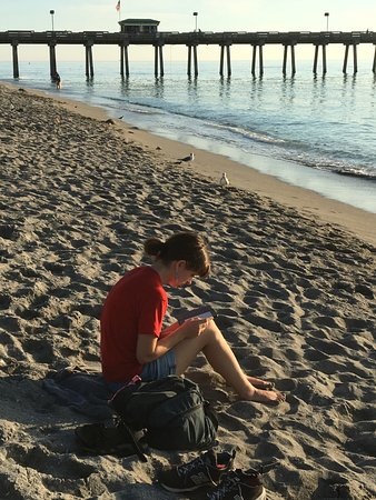 Venice Fishing Pier: A reader and the pier