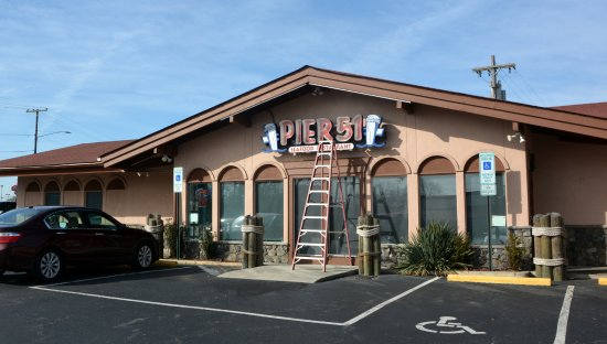 Pier 51 Seafood Restaurant: Exterior still getting a touch up