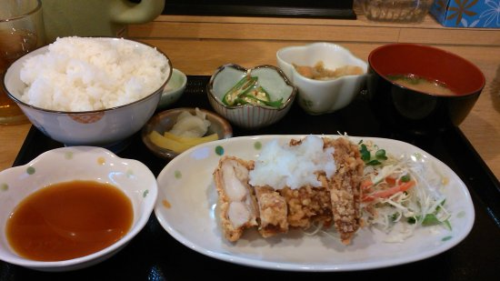 Ouchi No Gohan Karen: A Set Meal with Deep-fried Soysauce-marinated Chicken with Grated Radish on it