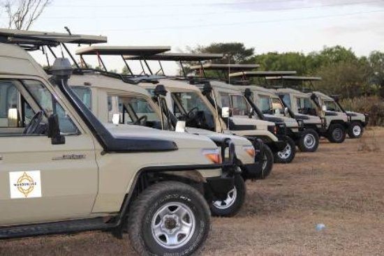 Dar es Salaam, Tanzania: Some of WAS 4WD Safari vehicles with open up roof