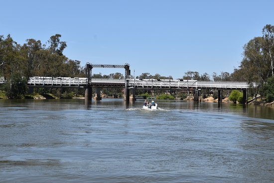 Cobba Paddleboat: About to pass under an opening railway bridge
