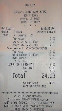 Denny's: $24.03 après réduction 15% AARP Sarah H.