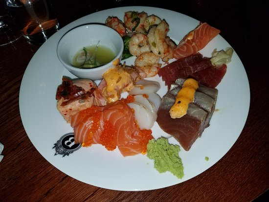 Berns Asiatiska: Salmon, scallop and tuna sashimi along with ceviche and the prawn salad