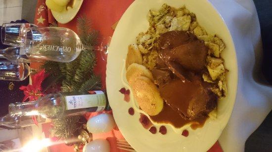 Grubschutz, Germany: Wildbraten mit Kartoffelplätzchen Burgundersauce