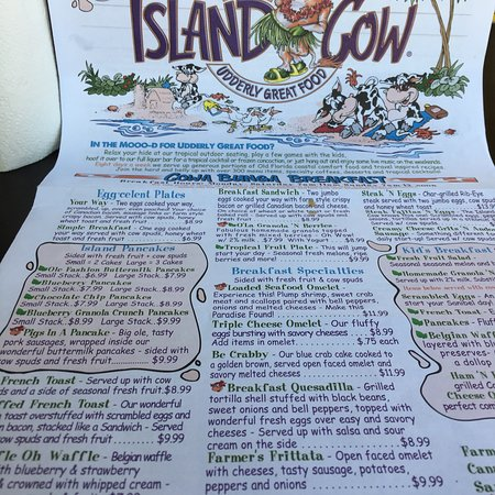 Island Cow Menu Sanibel Fl