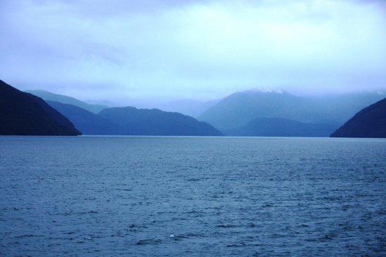 Puerto Natales, Χιλή: zonsondergang in de Chileense fjorden