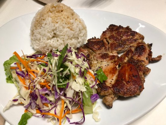 Temple City, CA: Chicken breast with salad and rice