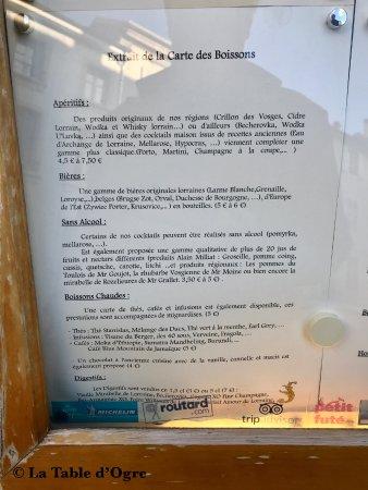 A la Table du Bon Roi Stanislas : Carte