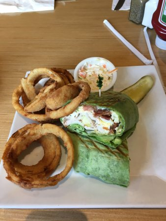 """Candlewyck Diner: Fresh Roasted Turkey """"Cobb"""" Wrap with Onion rings"""