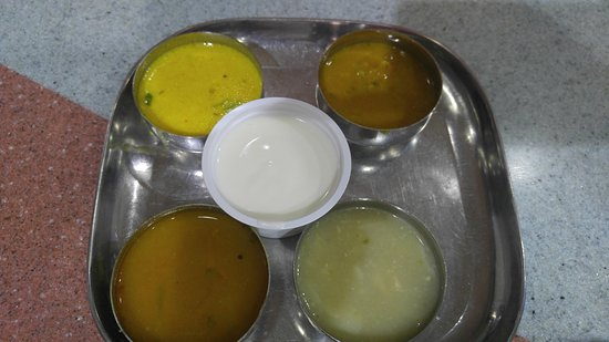 Madras Vegetarian Restaurant : Rasam Sambar Sweet and Yoghurt