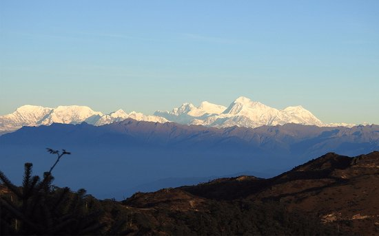 West Sikkim, Indien: View of Mt.Everest from Sandhak phu trek