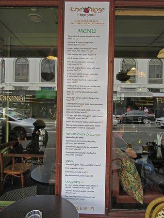 The Rose Irish Pub: Menu from the Irish Rose