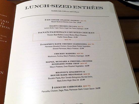Cooper's Hawk Winery & Restaurants: Lunch-sized Entrees Menu