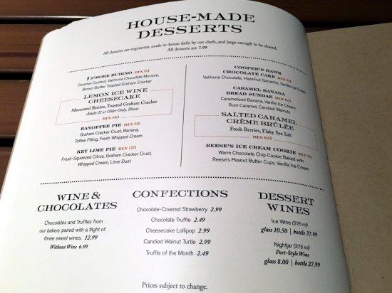 Cooper's Hawk Winery & Restaurants: House-Made Desserts menu