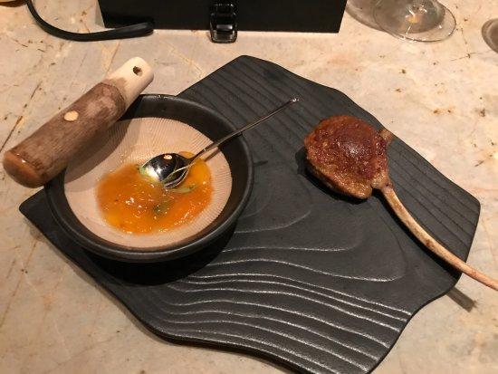 Tapas Molecular Bar: Curry Lamb chop with chutney