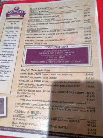 Sylvia's Restaurant: Parte de la carta