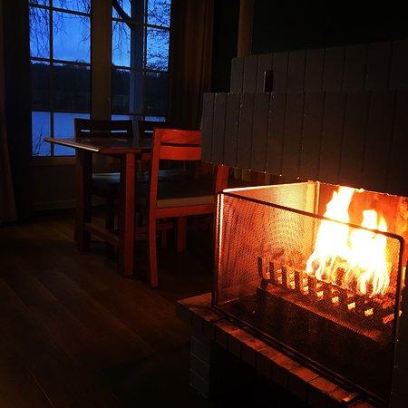 Center Parcs Le Lac d'Ailette: Salon avec cheminée (cottage VIP)