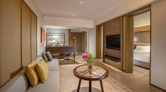 Pan Pacific Yangon: Premier Suite offering stunning views of the city and Yangon River and generous work space