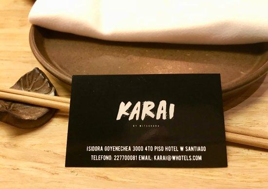 Karai by Mitsuharu: restaurant business card