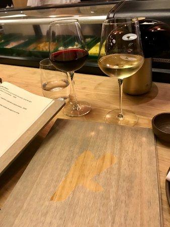 Karai by Mitsuharu: glass of wine and the menu