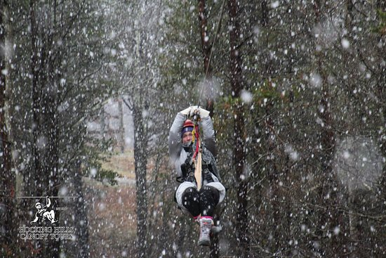 Rockbridge, OH: Snow is an awesome sight while ziplining, even if it does make it hard to see!
