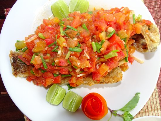Red fish in tomato ratanakiri paradise restaurant krong for Red fish catering