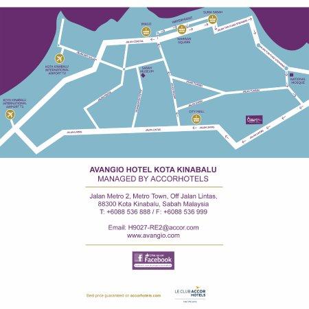 Hotel Map Picture Of Avangio Hotel Kota Kinabalu Managed By Accor