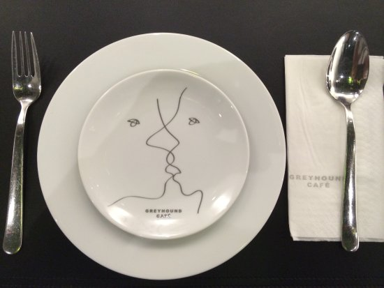 Greyhound Cafe: It makes a great conversation starter - the plates at Greyhound