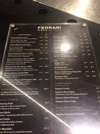 Menu Picture Of Ferrari Spazio Bollicine Fiumicino Tripadvisor