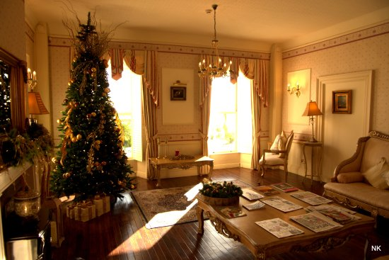 La Haule Manor: Lovely peaceful lounge with all the daily papers. Great tree decoration!