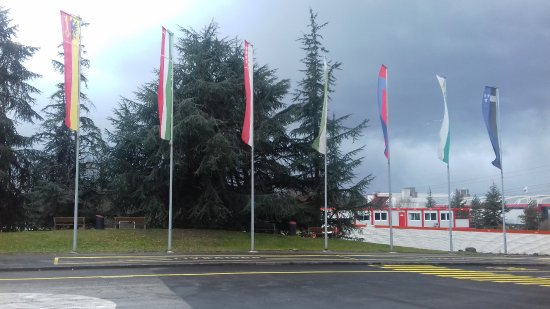 Le Grand Saconnex, Zwitserland: Flags of Confederatio Helvetica in front of Palexpo