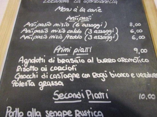 Lavagnetta Con Men Del Giorno Picture Of Locanda La Genzianella