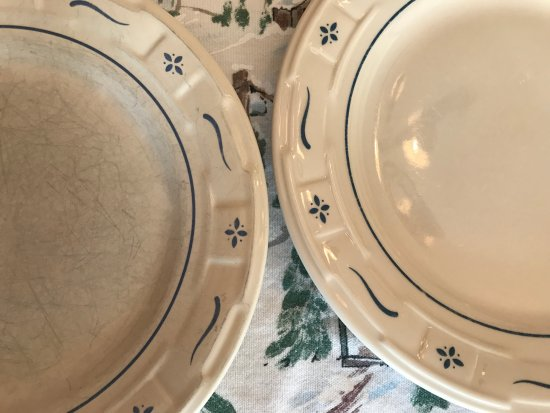 Dresden, OH: Longaberger Pottery on the left made in China and right made in the USA - shame on Longaberger!
