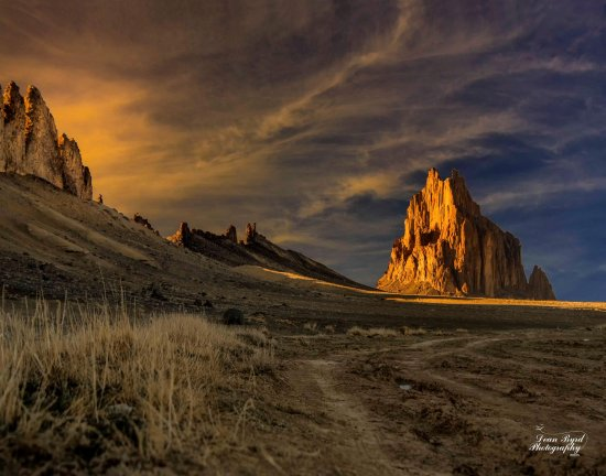 Shiprock at Sunset from the south.