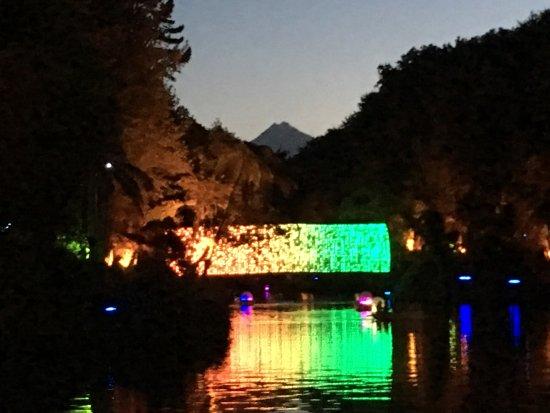 Pukekura Park: Sunset with Mt Taranaki overlooking the light tunnel.