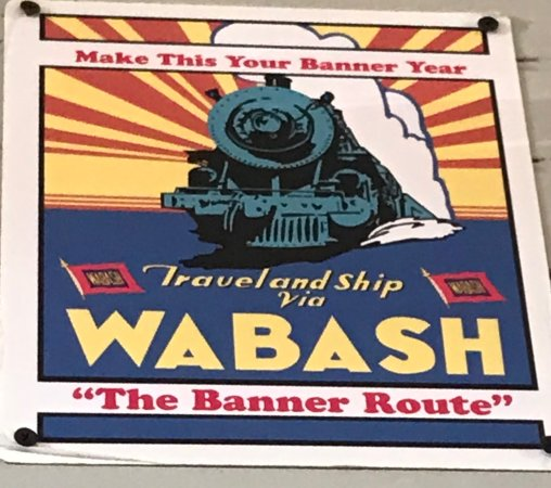 Monticello, IL: Old poster for the Wabash line in the Wabash depot