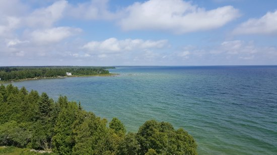 Baileys Harbor, WI: View of the left side from the top of Cana Island Lighthouse.