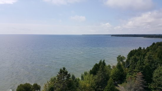 Baileys Harbor, WI: View of the right side from the top of Cana Island Lighthouse.