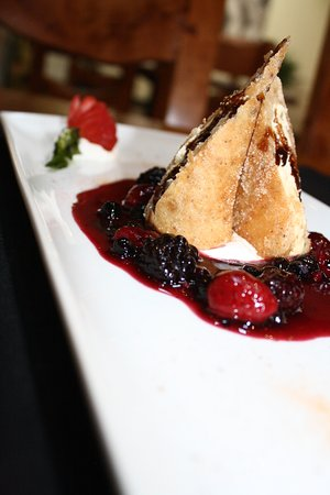 Denison, TX: Tia Maria Cream Cheesecake roll in Vainilla bean Tortilla with Wild Berries Compote