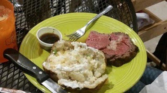Elgin, OK: Prime Rib (petite cut) and baked potato