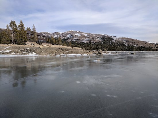 Kirkwood, CA: Looking Back at Caples Lake Resort )from middle of lake)