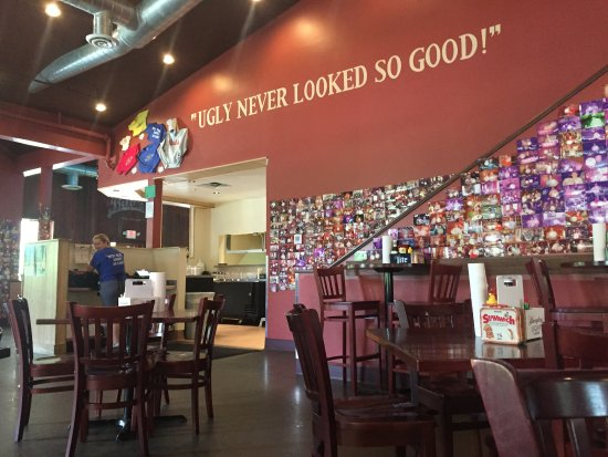 Bub's Burgers & Ice Cream: dining area with photos of Big Ugly Challengers