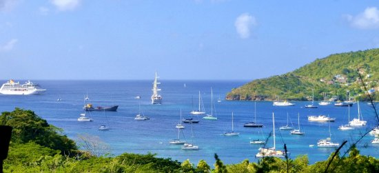 Belmont, Bequia: View from the apartments, always changing with the arrival and departure of boats and ferries