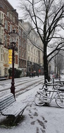 My Snowy Christmas in Amsterdam, just outside The Bridge Hotel.