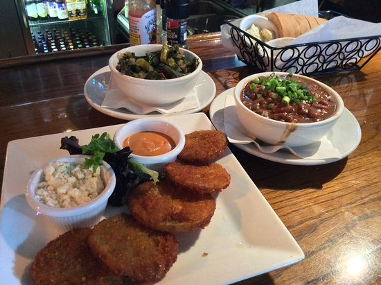 Harry's Seafood Bar and Grille: Fried green tomatoes, collards, and red beans and rice
