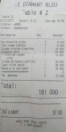Restaurant Le Diamant Bleu: Bill