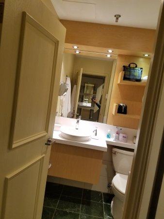 Hotel du Vieux-Quebec: Partial view into the bathroom