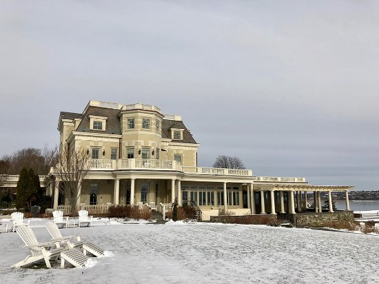 A side view of The Chanler at Cliff Walk from The Lawn after a recent snowfall.