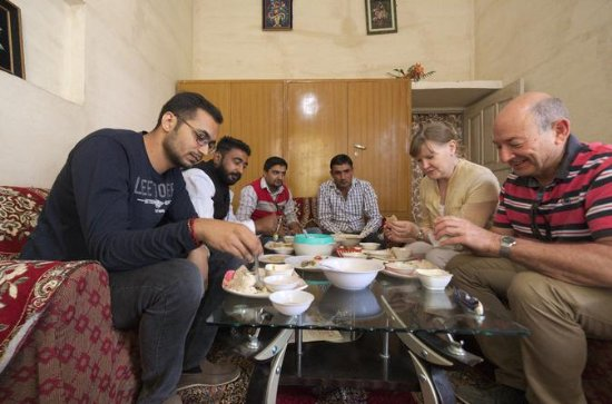 Virsa Travels: Guest enjoying the traditional Indian Village food....Tour: Indian Village and Food Tour
